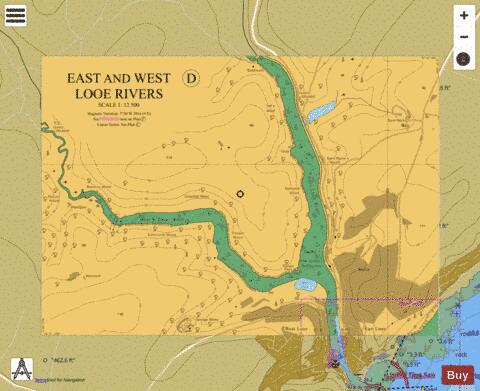 D East and West Looe Rivers Marine Chart - Nautical Charts App