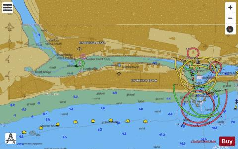 A Shoreham Harbour Western Arm and River Adur Marine Chart - Nautical Charts App