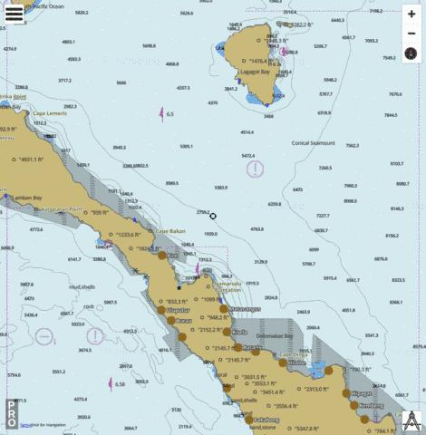 South Pacific Ocean - Cape Sena to Cape Lemeris inlcuding Lihir Island Marine Chart - Nautical Charts App