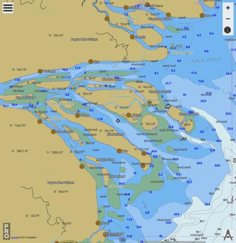 Papua New Guinea - Gulf of Papua - Fly River Delta Marine Chart - Nautical Charts App