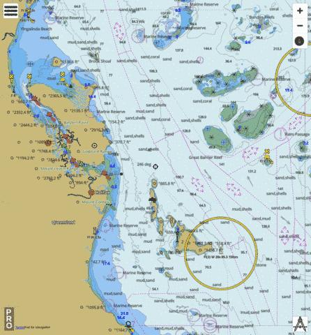 Great Barrier Reef - Rattlesnake Island to Dunk Island Marine Chart - Nautical Charts App
