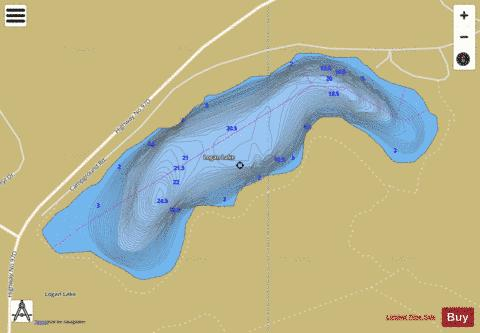 Logan Lake Fishing Map - i-Boating App