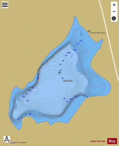 Jones Lake /Shot Lake Fishing Map - i-Boating App