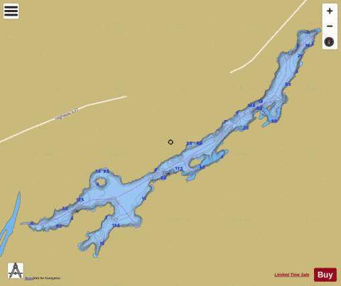 Attlee Lake (Mahzenazing River) Fishing Map - i-Boating App
