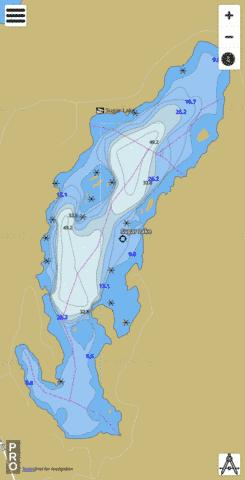 Sugar Lake Fishing Map - i-Boating App