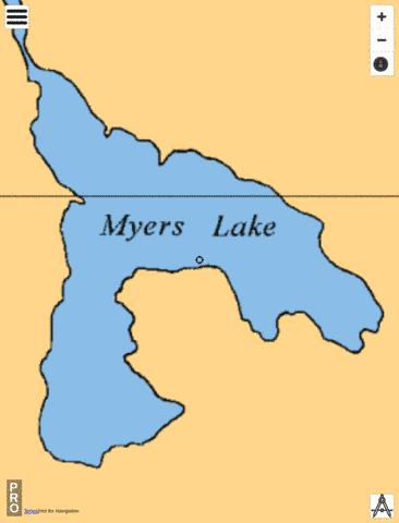Myers Lake Fishing Map - i-Boating App