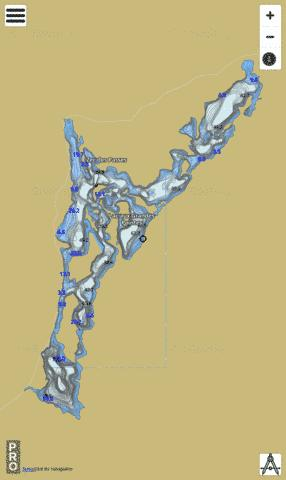 Lac Aux Grandes Pointes Fishing Map - i-Boating App
