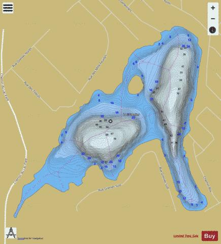 Grenier Lac / Lac Drouin Fishing Map - i-Boating App