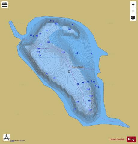 Entree, Lac de l' Fishing Map - i-Boating App