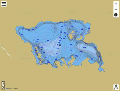 White Gull Lake Fishing Map - i-Boating App