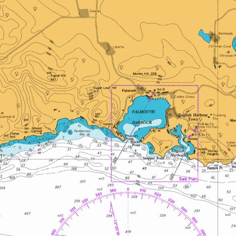 Falmouth Harbour and English Harbour Marine Chart - Nautical Charts App