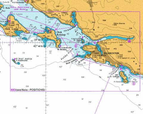 Approaches to Dubrovnik including Luka Gruz Marine Chart - Nautical Charts App