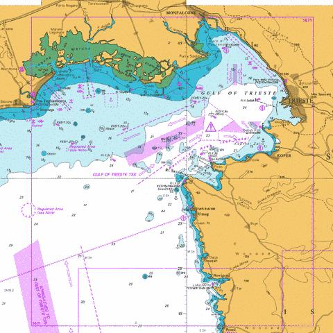 Gulf of Trieste and Approaches Marine Chart - Nautical Charts App