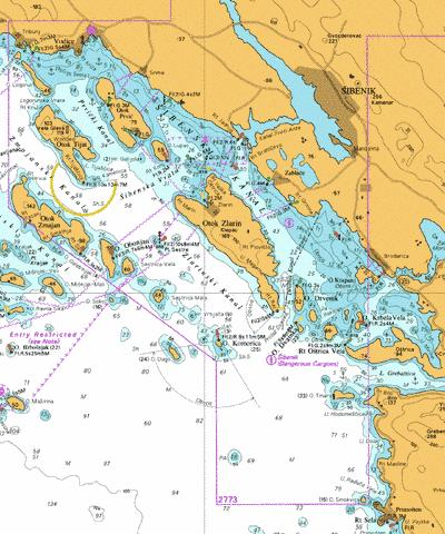 A  Sibenik and Approaches Marine Chart - Nautical Charts App