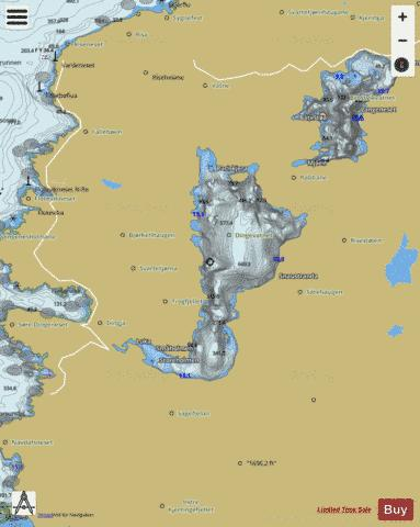 Dingevatnet Fishing Map - i-Boating App