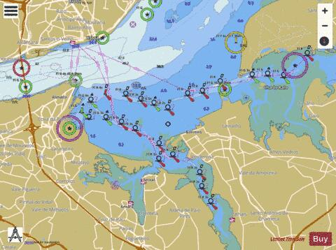 Lisboa Alcantara to Canal do Montijo Marine Chart - Nautical Charts App