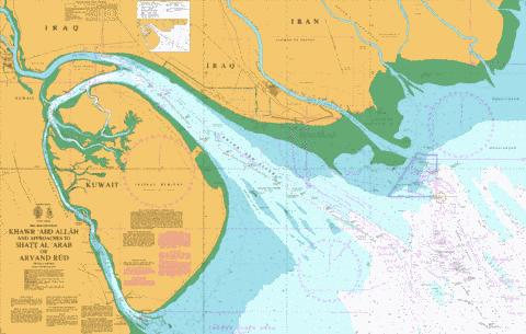 Khawr `Abd Allah and Approaches to Shatt al `Arab  or Arvand Rud Marine Chart - Nautical Charts App