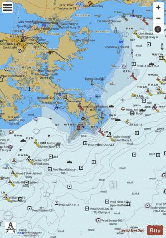 APPROACHES TO MISSISSIPPI RIVER Marine Chart - Nautical Charts App