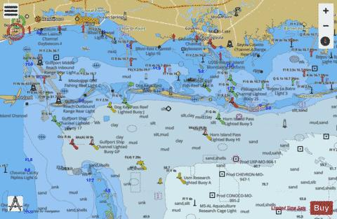 MISSISSIPPI SND and APPROACHES DAUPHIN ISL TO CAT ISL Marine Chart - Nautical Charts App