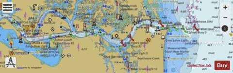 ST JOHNS RVR - ATLANTIC OCEAN TO JACKSONVILLE FL Marine Chart - Nautical Charts App