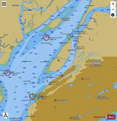BEAUFORT RIVER TO ST SIMONS SND SIDE A BROAD CREEK EXT Marine Chart - Nautical Charts App