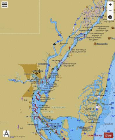MYRTLE GROVE SOUND AND CAPE FEAR RIVER TO CASINO CREEK Marine Chart - Nautical Charts App