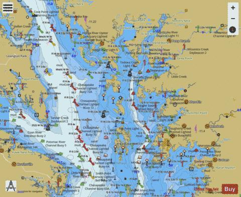 CHESAPEAKE BAY SMITH POINT TO COVE POINT Marine Chart - Nautical Charts App