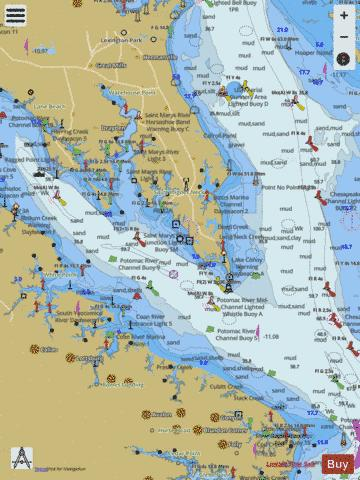 POTOMAC RIVERCHESAPEAKE BAY TO PINEY POINT Marine Chart