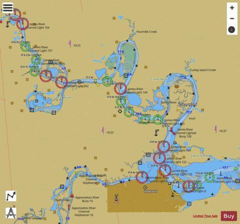 JAMES RIVER JORDAN POINT TO RICHMOND (Marine Chart : US12252_P590