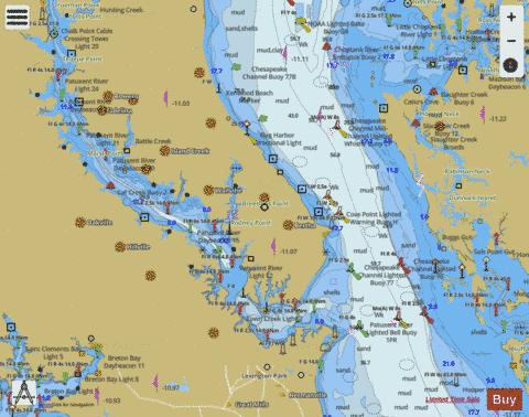CHESAPEAKE BAY PATUXENT RIVER AND VICINTY Marine Chart - Nautical Charts App