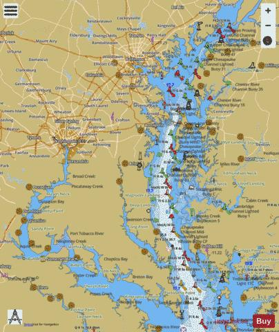 Chesapeake Bay Topographic Map.Chesapeake Bay Northern Part Marine Chart Us12280 P2974
