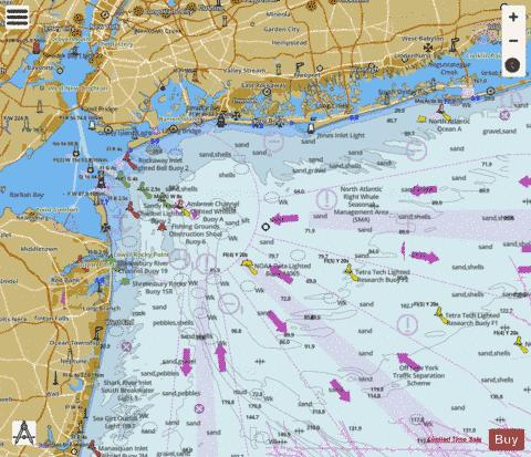 APPROACHES TO NEW YORK FIRE ISLAND LIGHT TO SEA GIRT Marine Chart - Nautical Charts App