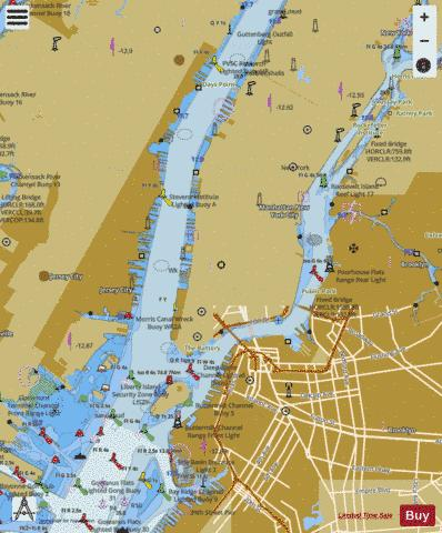 HUDSON AND EAST RIVERS-GOVERNORS ISLAND TO 67TH STREET Marine Chart - Nautical Charts App