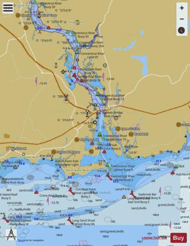 CONNECTICUT RIVER  LONG ISLAND SOUND TO DEEP RIVER Marine Chart - Nautical Charts App