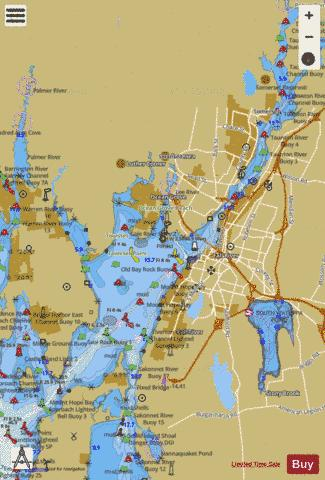 MT HOPE BAY  RI-MA Marine Chart - Nautical Charts App