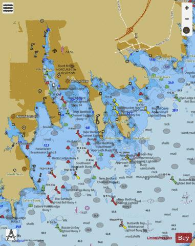 NEW BEDFORD HARBOR AND APPROACHES Marine Chart - Nautical Charts App