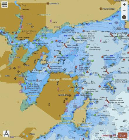 SALEM MARBLEHEAD AND BEVERLY HARBORS Marine Chart - Nautical Charts App