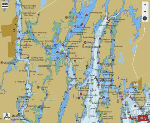 Boothbay Harbor To Bath Kennebec River Marine Chart