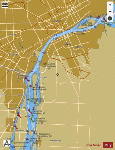 DETROIT RIVER MICHIGAN Marine Chart - Nautical Charts App