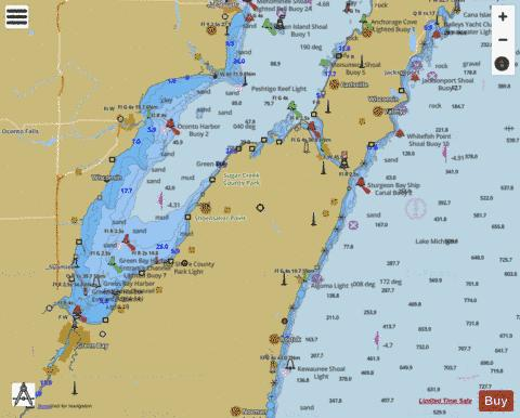 LOWER GREENBAY ALGOMA AND OCONTO Marine Chart - Nautical Charts App