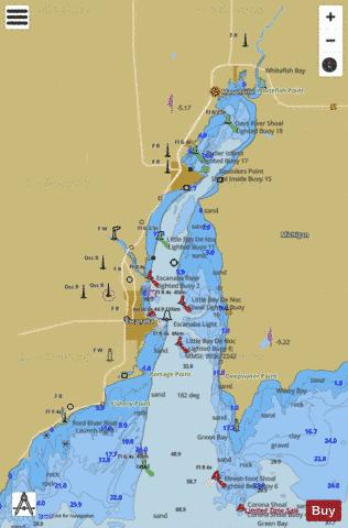 LITTLE BAY DE NOC MICHIGAN Marine Chart - Nautical Charts App