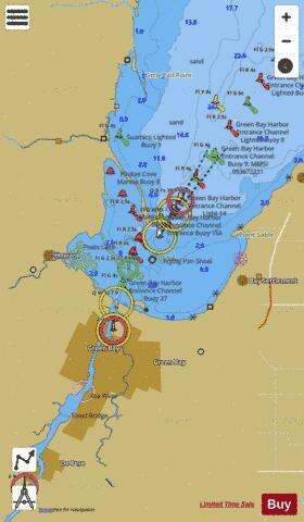Head Of Green Bay Including Fox River Below De Pere Marine Chart Nautical Charts