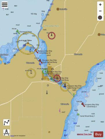 sturgeon bay michigan map Sturgeon Bay And Canal Lake Michigan Marine Chart Us14919 P1444