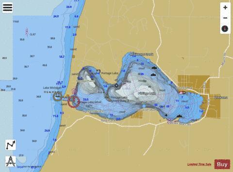PORTAGE LAKE MICHIGAN Marine Chart USP Nautical - Lake michigan us map