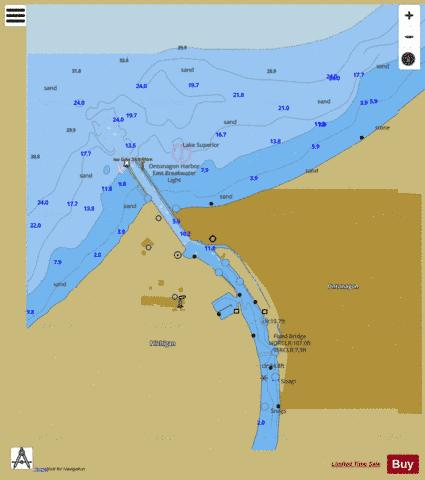 ONTONAGON HARBOR MICHIGAN Marine Chart - Nautical Charts App