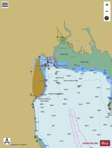Resurrection Bay Alaska Map.Seward Marine Chart Us16682 P2595 Nautical Charts App