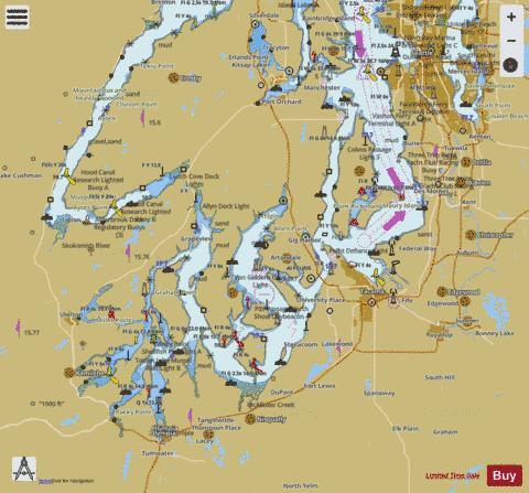 PUGET SOUND SEATTLE TO OLYMPIA Marine Chart - Nautical Charts App