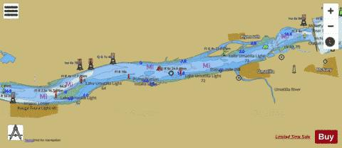 COLUMBIA RIVER BLALOCK ISLANDS TO MCNARY DAM Marine Chart - Columbia river on us map