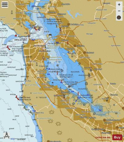 SAN FRANCISCO BAY TO ANTIOCH Marine Chart US18652P1828