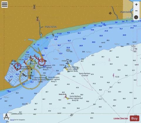 SANTA BARBARA Marine Chart USP Nautical Charts App - Santa barbara on us map